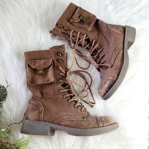 Roxy Oregon Brown Zipper Pocket Combat Boots